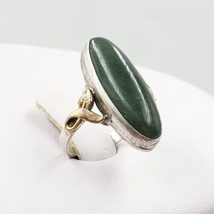 Jewelry - Clark & Coombs Silver 10kt GF Green Stone Ring